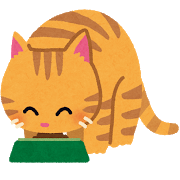 猫がフードを食べる